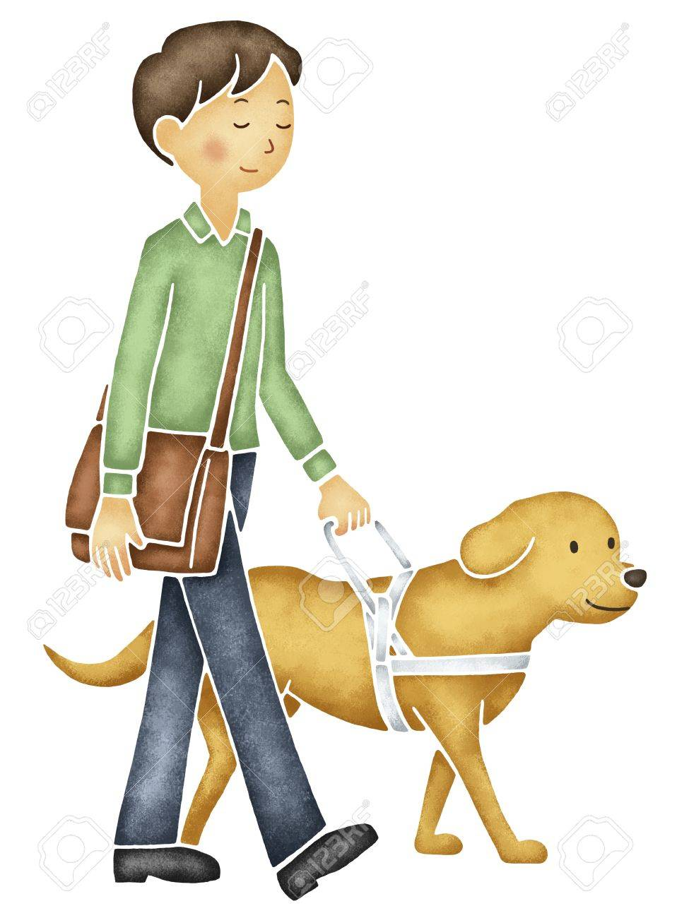 An animated picture of a blind young man with a guide dog