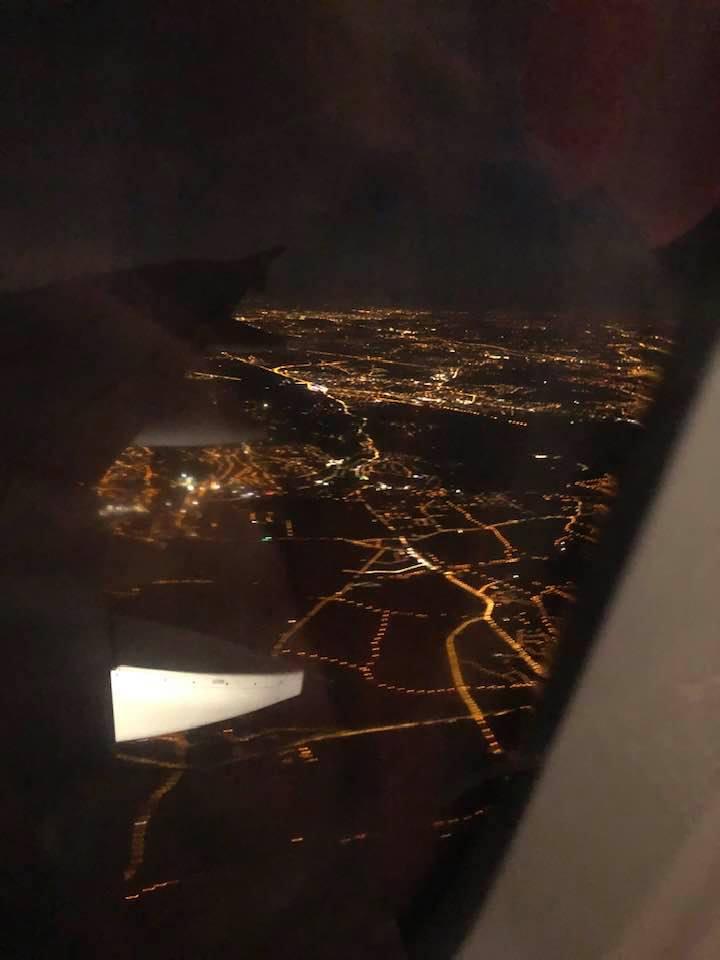 noční pohled z letadla
