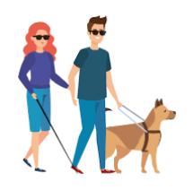 Animovaný obrázek zobrazující chlapce s vodícím psem a dívku s bílou holí, jak se drží za ruce